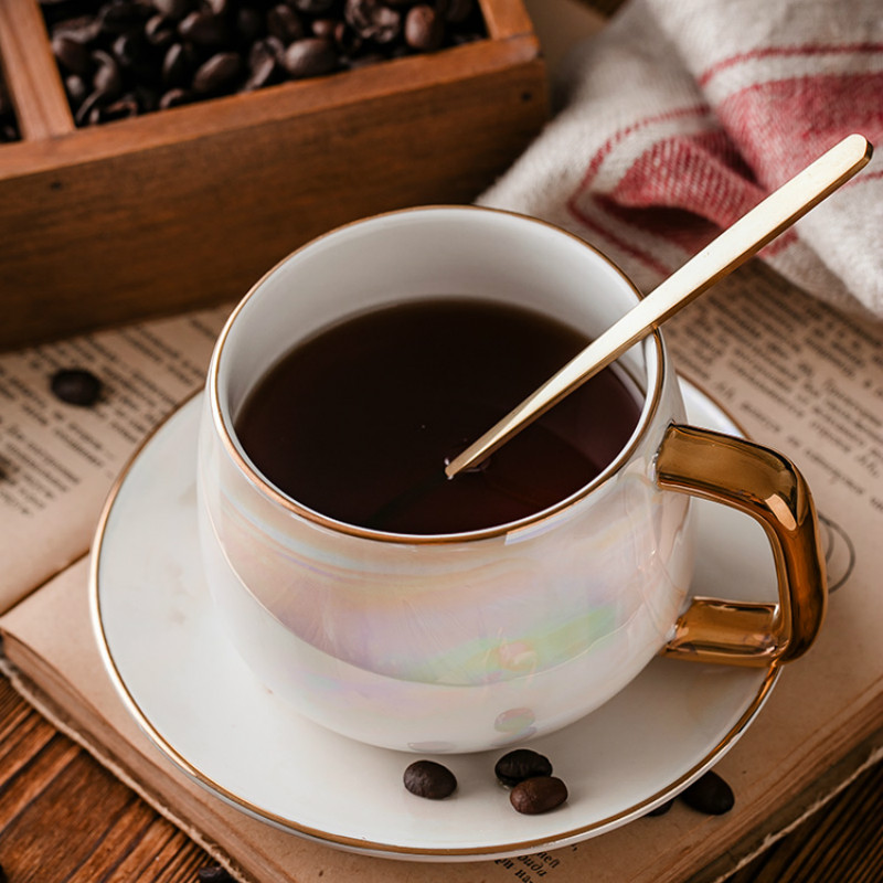European Afternoon Black Tea Ceramic Cups And Saucers With Spoon Coffee Mug Tray Porcelain Drinkware Set YHJ021305