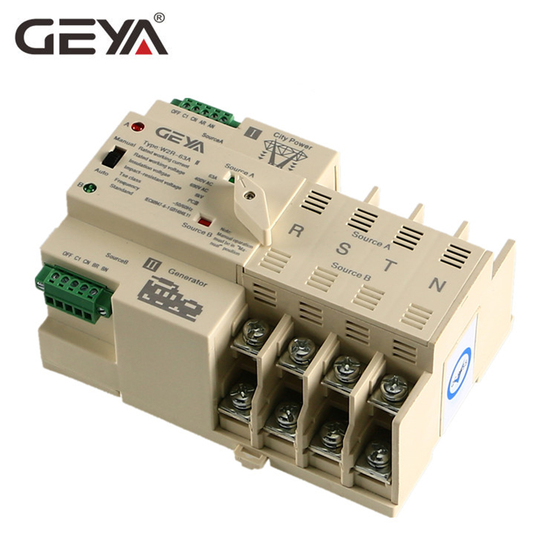 Free Shipping GEYA Din Rail 4P ATS Electric Dual Power Switch Manual Transfer Switch 220V Coil Max 100A PC Type Switch-in Circuit Breakers from Home Improvement    1