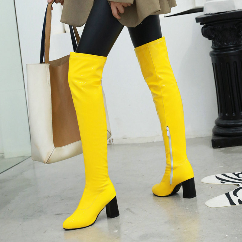 2019 Autumn Winter Fashion Over the Knee Boots Soft Pu Leather Square High Heel Knee High Boots Zipper Female Boots Yellow Black