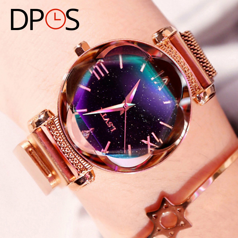 Luxury Rose Gold Starry Sky Women Watches Milanese Band Magnet Buckle  2019 Ladies Wrist Watches DPOS Clock Gift For Femal