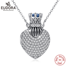 EUDORA 925 Sterling Silver Heart Prayer Box Necklace with Blue Crystal Ashes Pendant Memorial Jewelry Cremation Urn Jewelry D428 цена в Москве и Питере