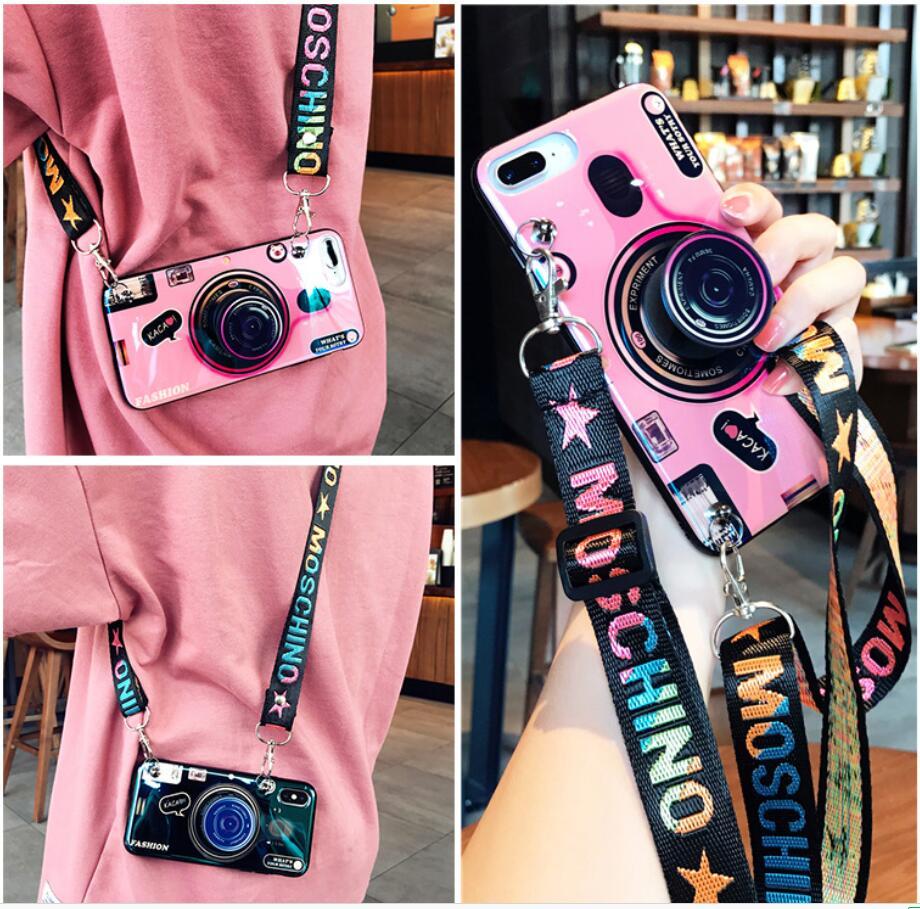 3D Ретро камера ремешок чехол для iphone 7 Чехол 8 Plus X 6S 6Plus для iphone 6 5 5S SE модный держатель силиконовый чехол для телефона