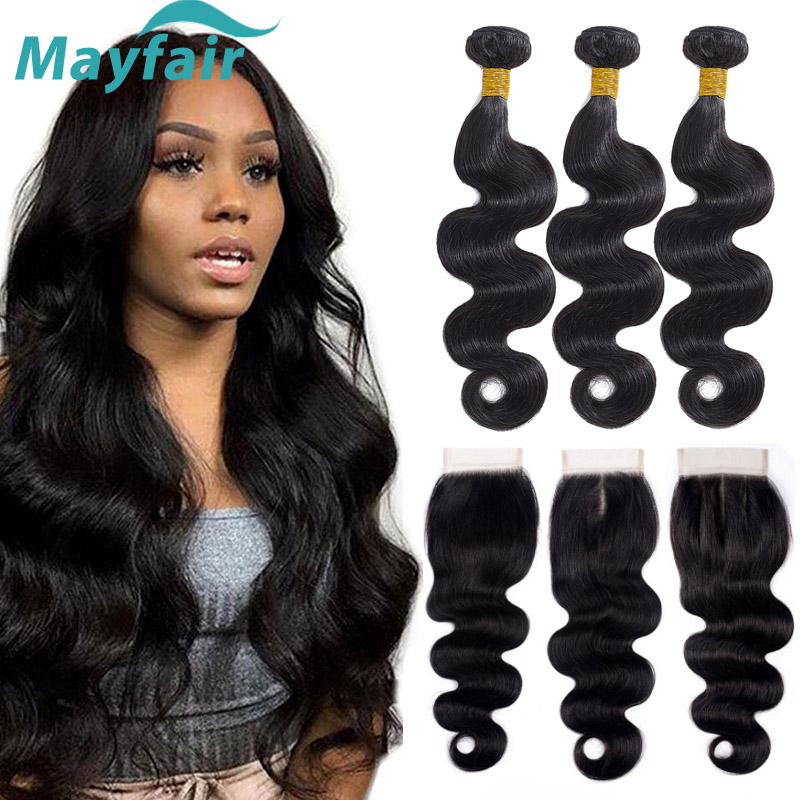 Body Wave Bundles With Closure Peruvian Hair Weave Bundles With Closure Mayfair Non Remy Human Hair Bundles With Closure