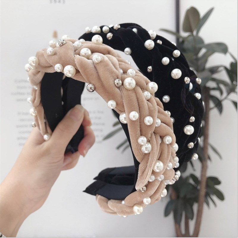 High-end Hair Accessories Women's Gold Velvet Fabric Beaded Twist Braids Wide-brimmed Headband Fashion Girl's Hair Band Headwear