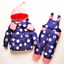 цена на 2019 Winter Baby Girls Clothing Sets Girls 2-4years Down Jackets Kids Snowsuit Warm Baby Ski Suit Jackets Outerwear Coat+Pants