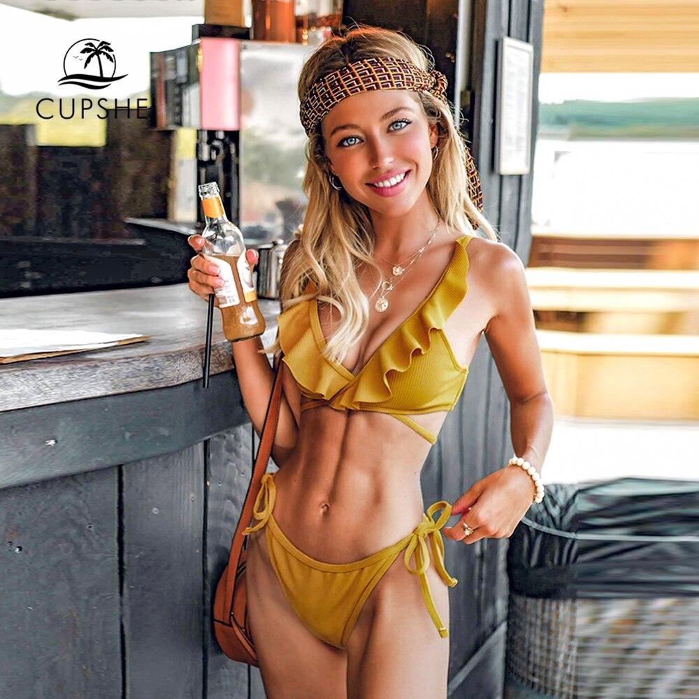 Где купить Женский купальник-бикини CUPSHE, желтый купальник с оборками и открытой спинкой, с завязками на шее, из двух предметов, 2020