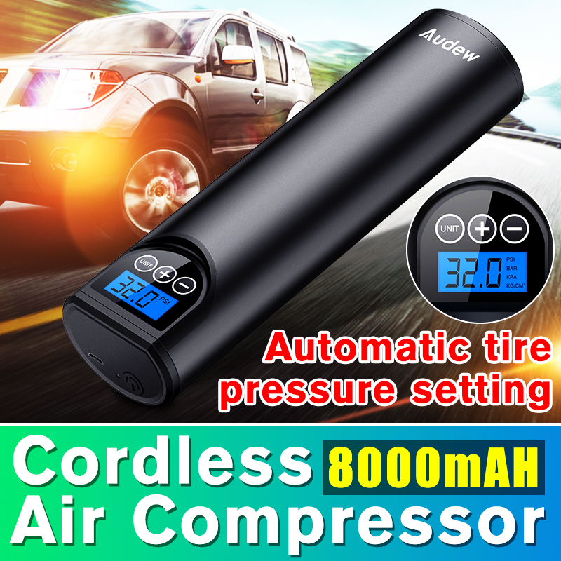 Audew 12V 150PSI USB Cordless Portable Air Compressor LCD Handheld Inflatable Pump For Car Bicycles Tires Balls Swimming Rings
