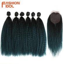 Moda idol afro kinky reta falso cabelo tece para preto feminino 6 pacotes com fechamento ombre azul extensões de cabelo sintético