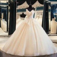 Os recém chegados brilhante lindo vestido de baile vestidos de casamento com miçangas flores de cristal casamento