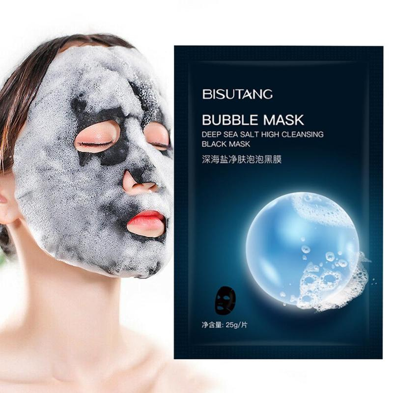 Oxygen Bubble Sheet Mask Moisturizing Bamboo Charcoal Black Face Mask Facial Whitening Korean Cosmetic Skin Care image