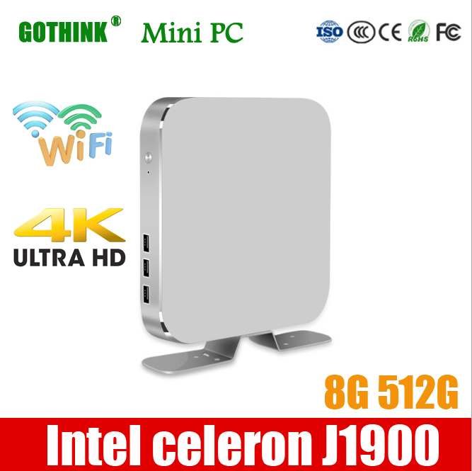 GOTHINK Mini Pc Intel Celeron J1900 8G 512G Quad-core 1.99Ghz WIN7/8/10 LINUX OS 300M WiFI HDMI 4K Pocket Pc USB3.0 VGA