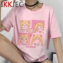 Cute Sailor Moon Anime Funny Cartoon T Shirt Women Summer Casual Kawaii T-shirt Grunge Aesthetic Tshirt Fashion Top Tees Female