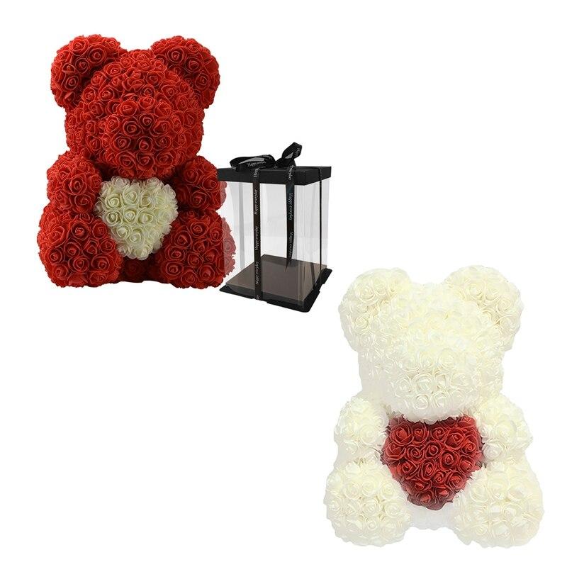 NHBR-2Pcs amour coeur ours en peluche fleurs artificielles savon Rose fleur artificielle cadeaux de noël pour les femmes saint valentin cadeau Re