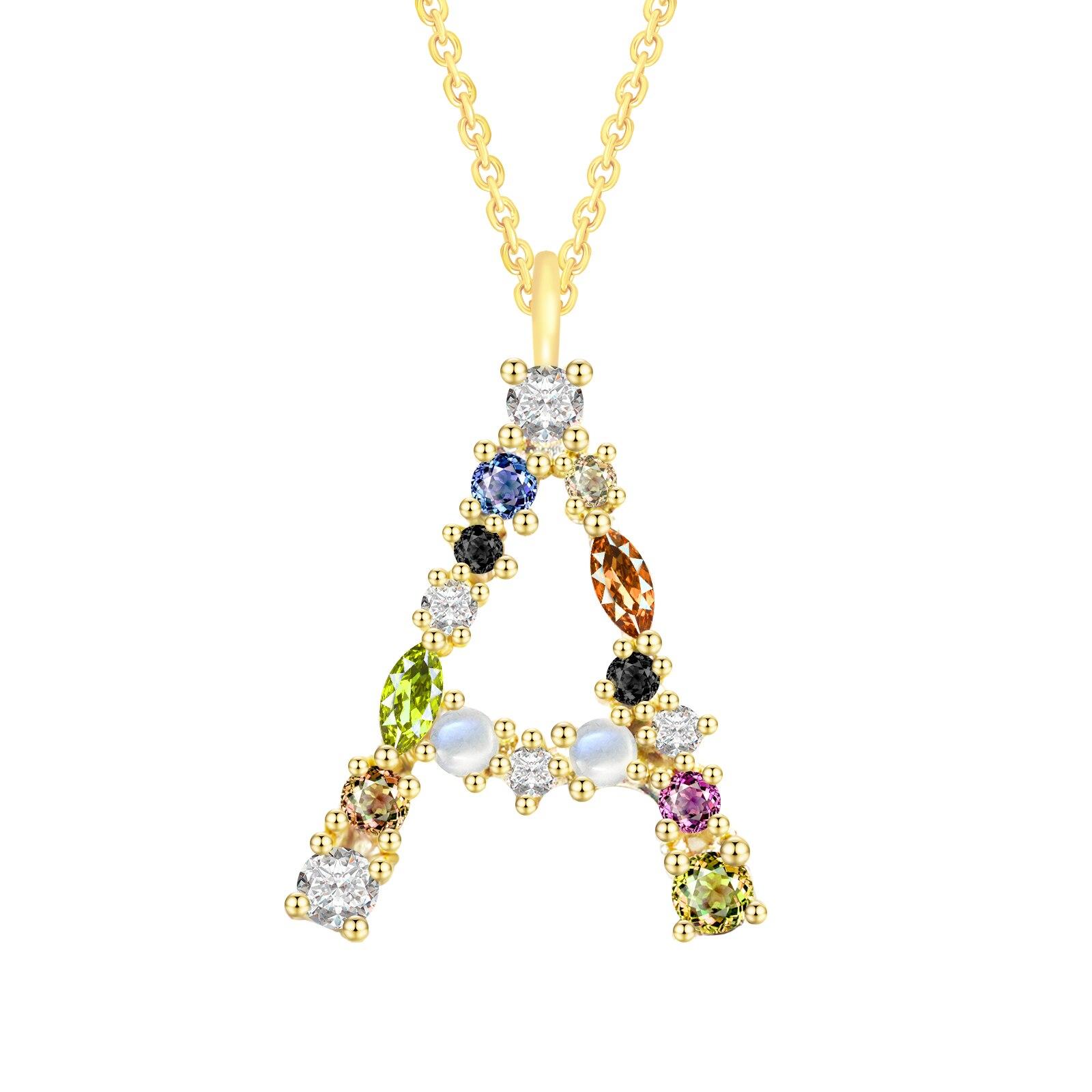 925 стерлингового серебра 26 ожерелье с буквами для женщин с алмазными подвесками, Замшевые женские ботинки брендовые золотое ожерелье красо...