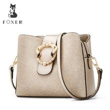 FOXER Brand New Chic Women Bucket bag Glossy Fashion Lady Messenger Bags Female Large Capacity Stylish Shoulder purses