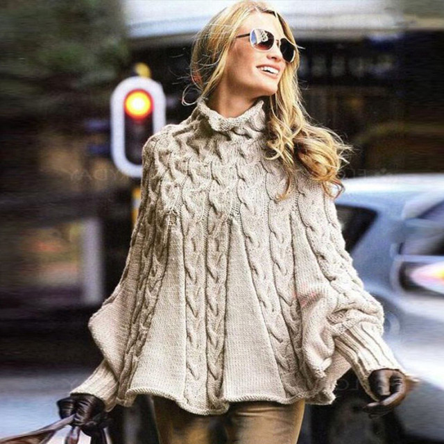 2019 Womens Lady Turtleneck Sweater New design Cloak Casual Solid Loose Long Sleeve Pullover Knitted Cashmere Women Top New
