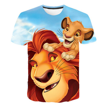 New children's T-shirt, popular lion king print children's shirt for boys, short-sleeved T-shirt, summer T-shirt