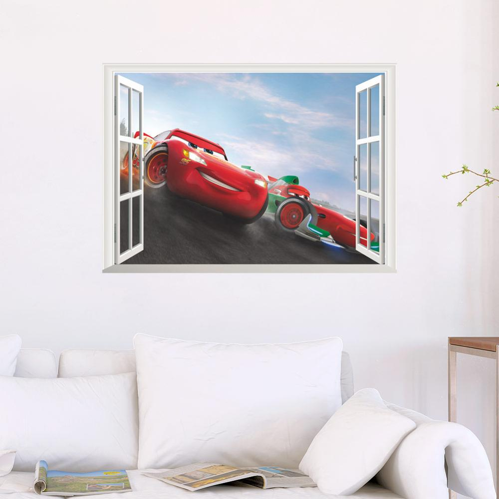 Disney cartoon movie 3Dview Cars Lightning McQueen smile Window wall sticker kids room mural art Home decoration free shipping in Wall Stickers from Home Garden