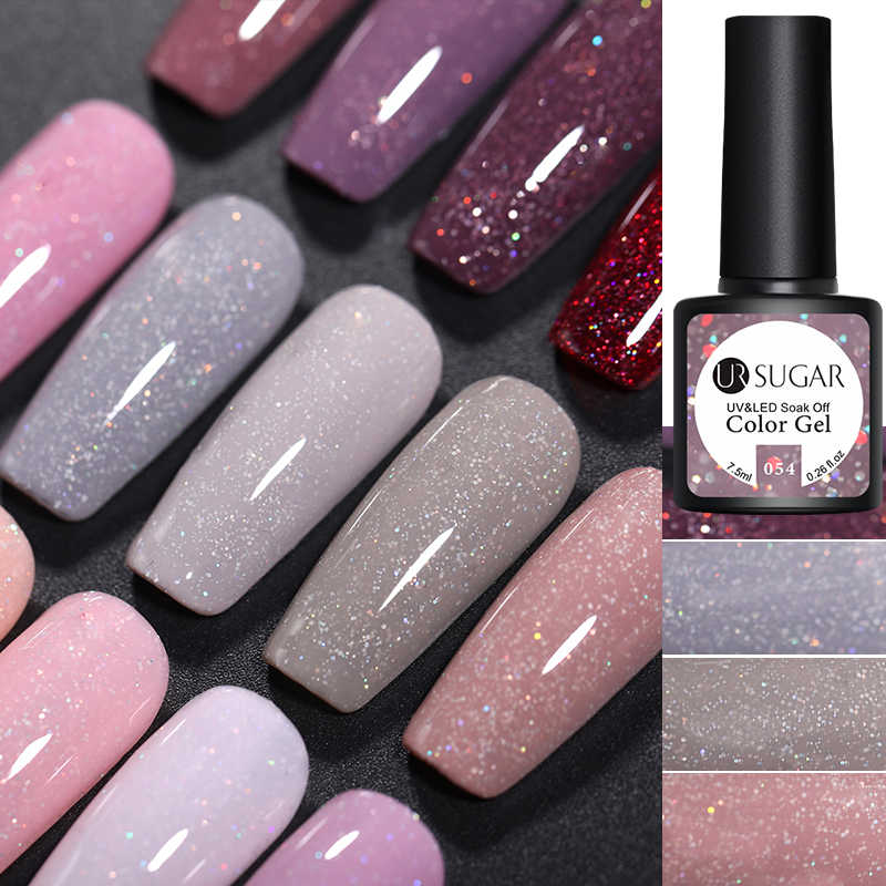 UR Gula 7.5 Ml Glitter Uv Gel Nail Polish Glitter Payet Rendam Off Uv Gel Varnish Warna-warni Kuku Gel Polandia DIY Kuku Seni Polandia