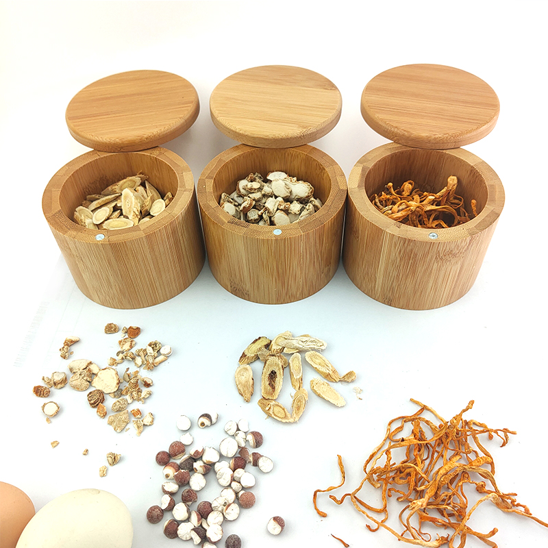 bamboo round salt box with magnet Kitchen Bamboo Jar Bamboo Can Bamboo Container used for Tea or Coffee or Sugar