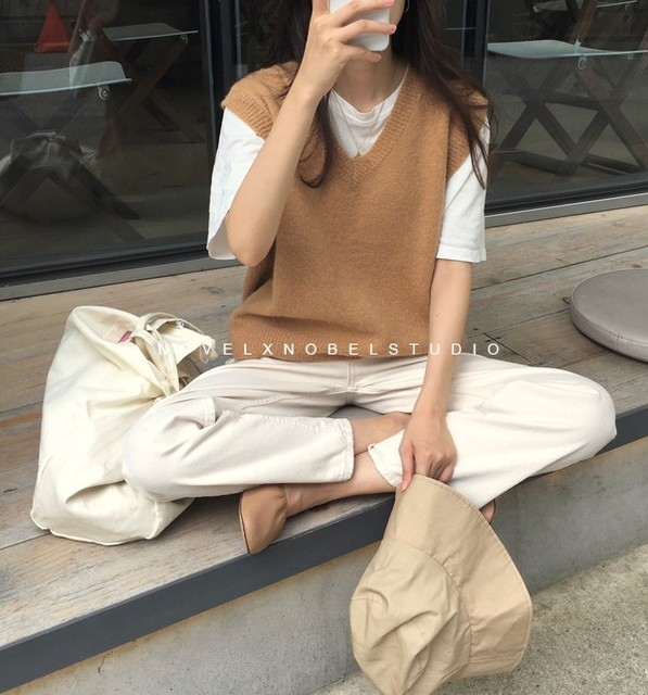 New V neck Girls Pullover vest sweater Autumn Winter Pink Knitted Women Sweaters vest Sleeveless Warm Sweater Casual oversize 4