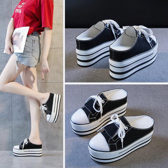 Tleni 2019 nouveau printemps et été femmes augmenté baskets hautes sauvage plate-forme chaussures en toile noir chaussures de marche ZW-72