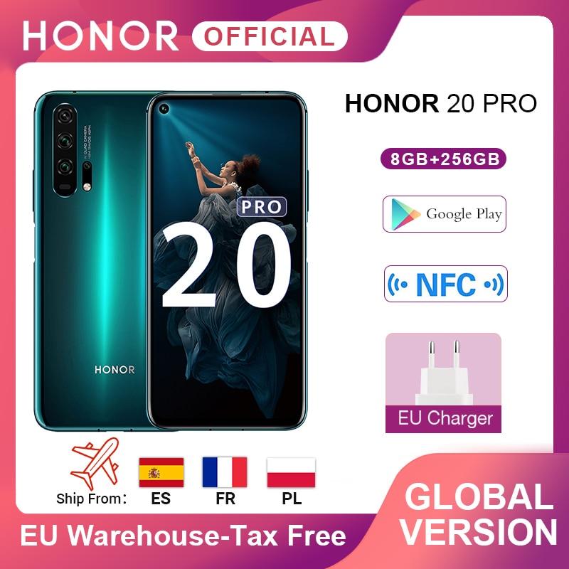 Global Version HONOR 20 Pro Google Play Smartphone 6.26''8GB 256GB Kirin 980 Octa Core 48MP Camera Mobile Phone Android NFC