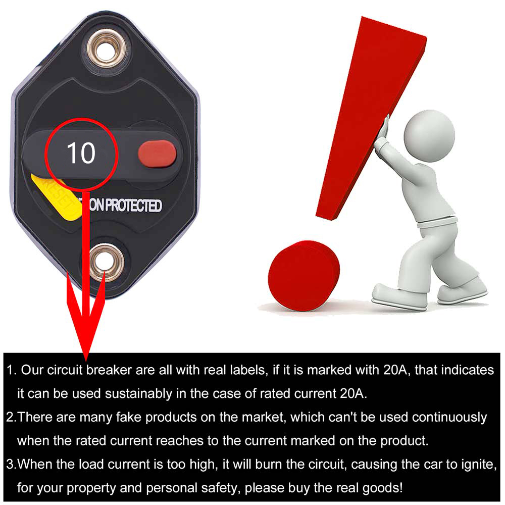 Image 5 - Areyourshop 10A 15A 20A 30A 40A 50A IP67 Waterproof Circuit Breaker Blow Reset Fuse Switch For Car Audio MarineCircuit Breakers   -