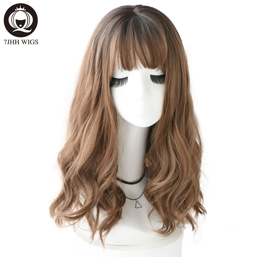 7JHH WIGS Light Blonde Synthetic Wigs For Women Realistic Long Pastel Brown Grey Wigs With Bangs Medium Wavy Lolita Cosplay Wig