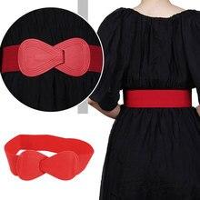 Мода красный эластичный пояс твердый черный белый желтый широкий пояс женский пояс пояс леди бант пояса искусственный кожа корсет пояс