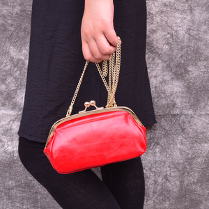 Image 2 - AETOO genuine Leather fashion leather bag female retro solid color oil wax leather small square bag shell bag Metal chain bag