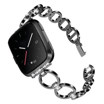 Correa de reloj de cristal de acero inoxidable, correa de repuesto para reloj FitbitVersa FKU66