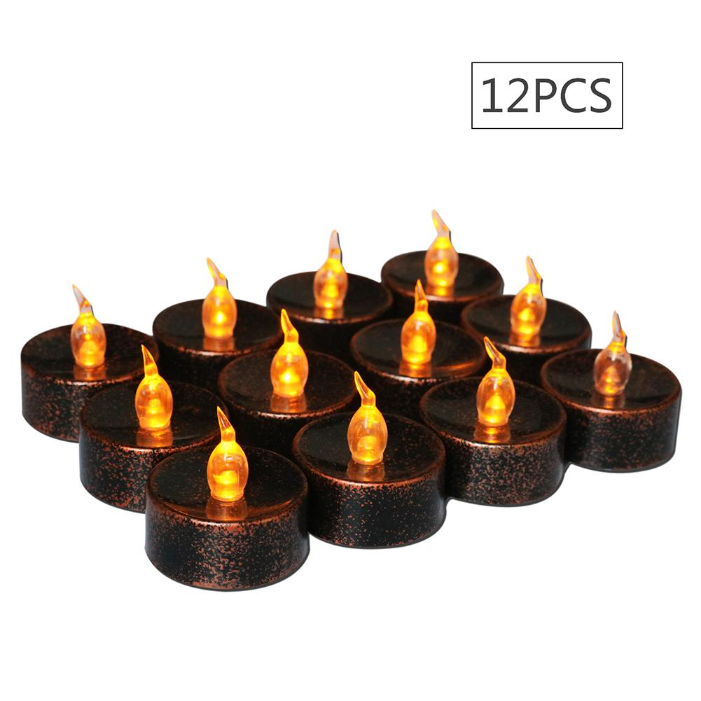 12 Pcs LED Electronic Flameless Flickering Candle Night Light Small Tea Wax Night Light For Home Party Halloween Decoration
