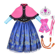 elsa gril kids fall outfits pyjama enfant anna princess birthday party roupas infantis menina halloween cosplay children clothes Princess Anna Dress For Girls Children's Halloween Cosplay Snow Queen Costume Kids Carnival Birthday Party Clothes