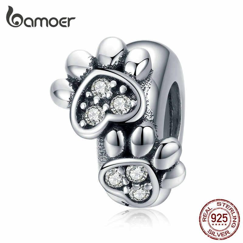 Bamoer bracelete, autêntico 925-prata de lei, estampa de animais, gato, coração, braço, charme, diy, original, scc594