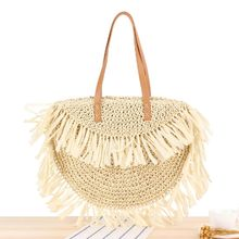 купить Special New Straw Bag Tassel Women Woven Beach Tote Handbag Hobo Weave Shoulder Bag Purse онлайн
