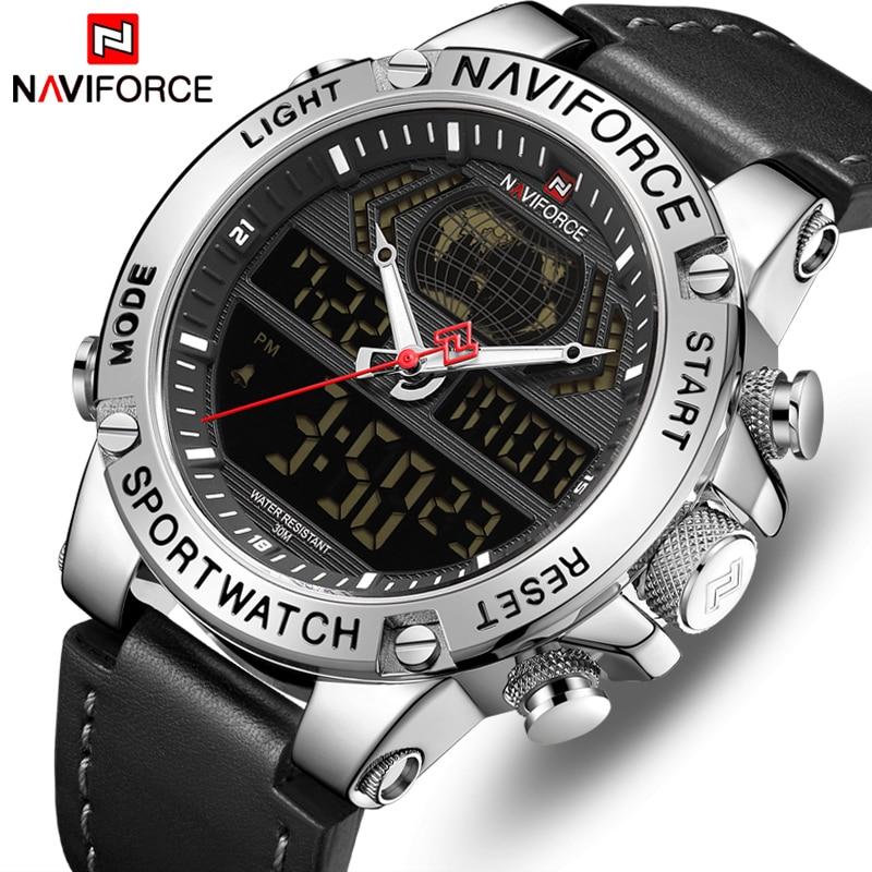 NAVIFORCE Top Brand Mens Fashion Sport Watchs Men Leather Waterproof Quartz Wristwatch Military Analog Digital Relogio Masculino