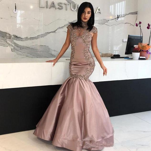 High Neck Mermaid Long Evening Dress Short Capped Sleeves Floor-Length Custom Made Prom Gown 2018 lace appliques Mother dresses