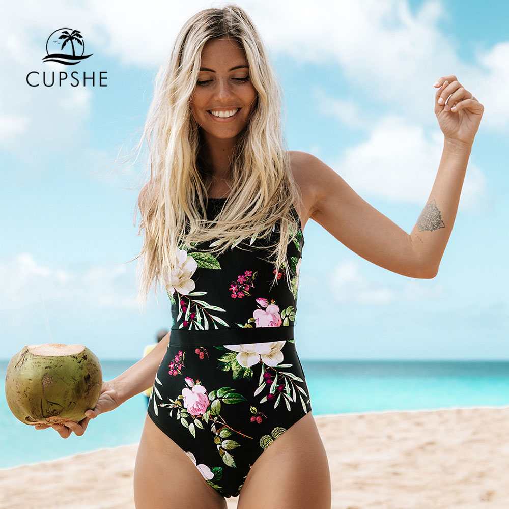 CUPSHE Lotus Floral Print And Mesh Patchwork One piece Swimsuit Women O neck Lace up Monokini 2019 Girl Beach Bathing Swimwear-in Body Suits from Sports & Entertainment
