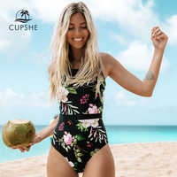 CUPSHE Lotus Floral Print And Mesh Patchwork One-piece Swimsuit Women O-neck Lace-up Monokini 2020 Girl Beach Bathing Swimwear