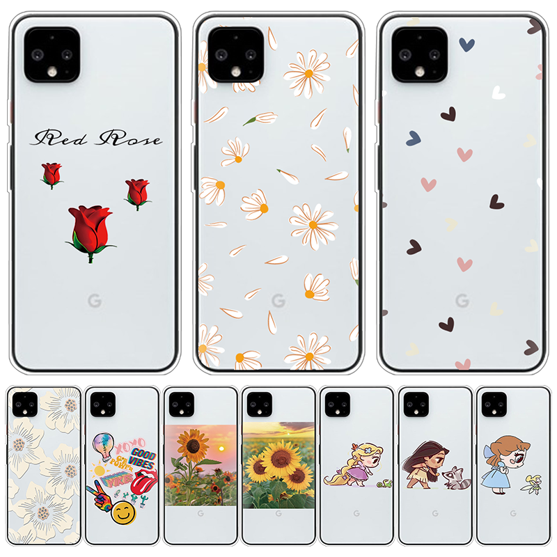Love Heart Daisy Flowers Phone Case For Google Pixel 4 XL TPU Clear Coque For Google Pixel 3XL 3A 3 2 XL 4 Cover Girl Sunflower