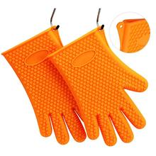 цена на 1Pcs Heat Resistant Silicone Glove Cooking Baking BBQ Oven Pot Holder Mitt Kitchen Red Hot Search