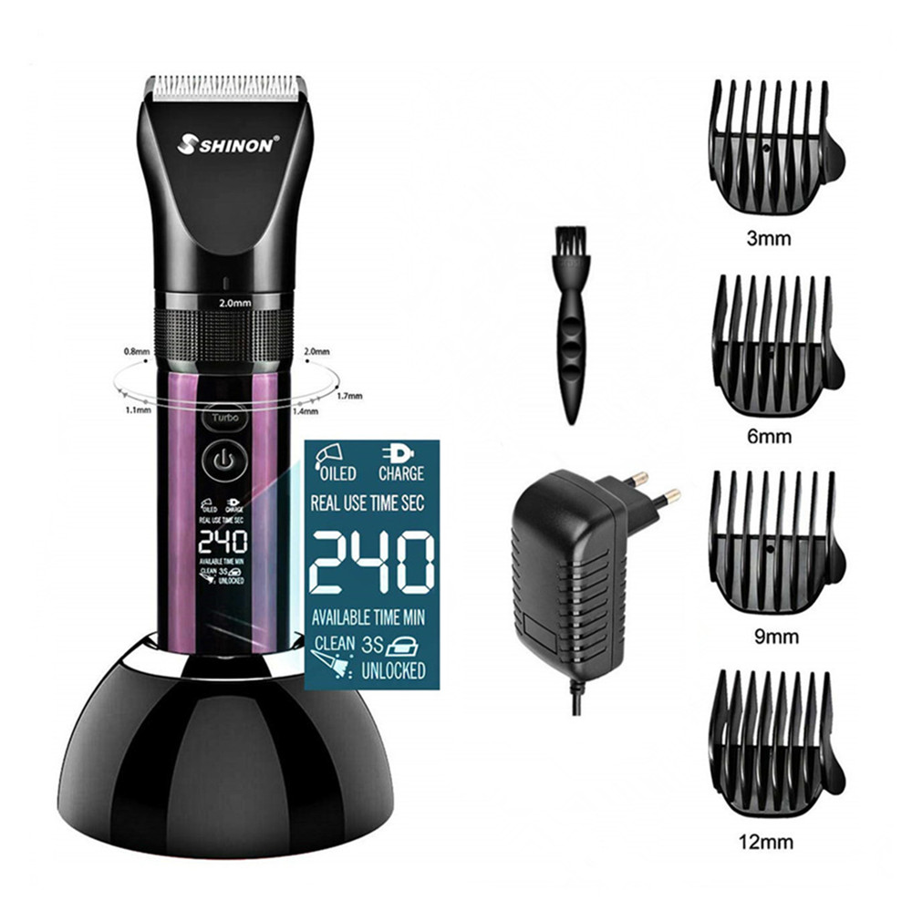 3 Modes Men LED Display Professional Electric Hair Clipper Dual Charging Method Hair Cutter Machine Hair Trimmer + Charging Base