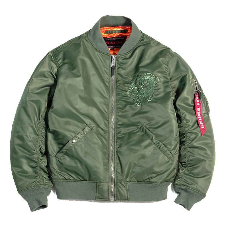 SMN Flight Jacket Spring Autumn Men Thin MA-1 Embroidery Army Green Bomber Jacket Air