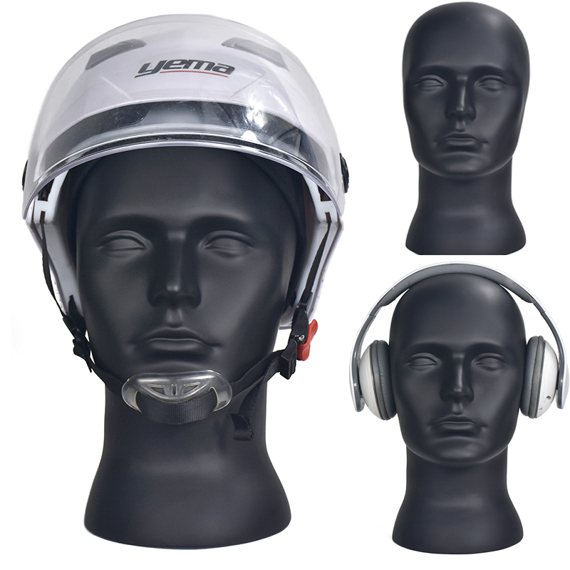 Male PVC Mannequin Head Wigs Hats Cap Glasses Headphone Display Model Stand Window Mannequin Head Model