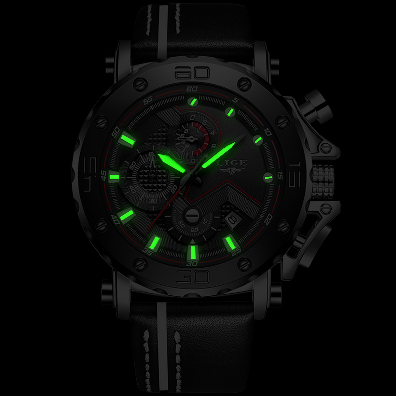 Hommes montres LIGE Top marque de luxe homme grand cadran affaires chronographe étanche Quartz montre-bracelet hommes décontracté en cuir Date horloge - 4