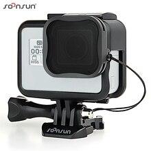 Soonsun capa de proteção e filtro de câmera, suporte de moldura protetora padrão com filtro de lente nd8 para gopro hero 5/6/7, câmera preta go acessórios pro 7