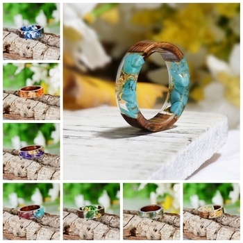 2020 Hot Sale Handmade Wood Resin Ring Dried Flowers Plants Inside Jewelry Resin Ring Transparent Anniversary Ring for Women