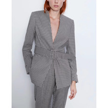 2019 Autumn Women's suit woolen jacket casual vintage chic coat female waistband houndstooth blazer outerwear women ZA style(China)
