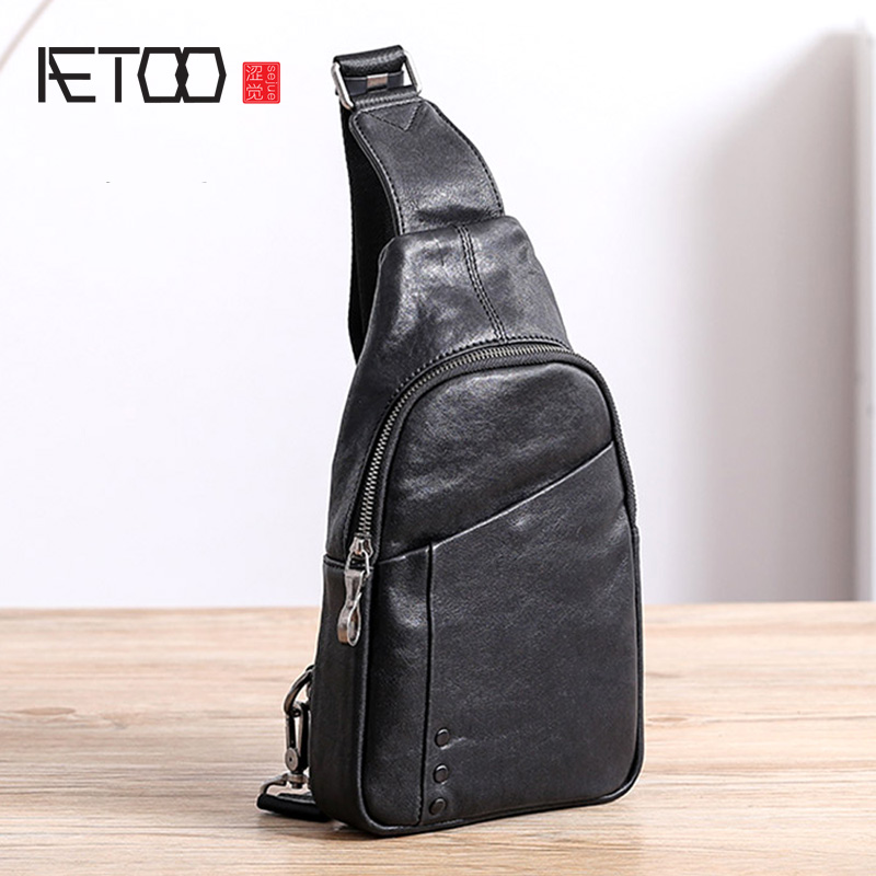 AETOO Chest Bag, Men's Leather Casual One-shoulder Slanted Bag, Trend Head Leather Men's Small Bag